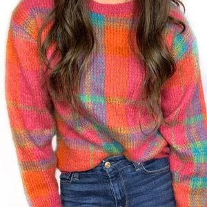Vintage Plaid Sweater Wool Mohair Neon Crew Neck